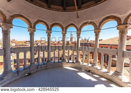 St Mark Bell Tower From Contarini Del Bovolo Stairway. Venice, Veneto, Italy. High Quality Photo