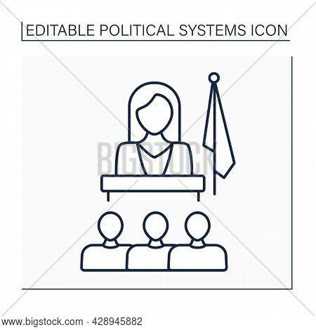 Matriarchate Line Icon. Social Organization Form. Female Government, Society, Family Head. Female Do