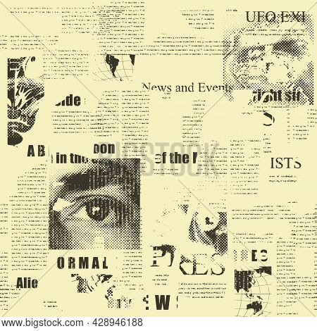 Abstract Seamless Pattern With Fragments Of Old Newspaper Articles, Headlines And Illustrations On A