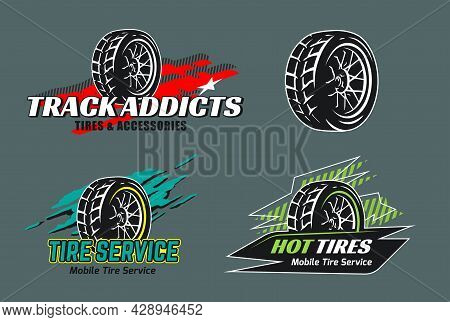 Set Of Tire Shop Logo Design. Mobile Tire Repair Badges. Logo For Tyre Storage Company.