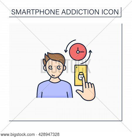 Smartphone Addiction Color Icon. Spend A Lot Of Time On Phone. Day And Night Sitting On The Internet