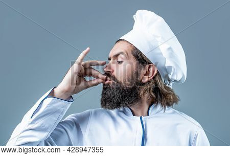 Bearded Chef, Cooks Or Baker. Bearded Male Chefs Isolated On White, Perfect. Professional Chef Man S