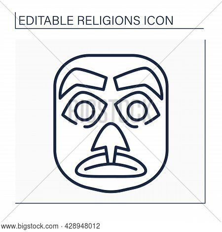 Candomble Line Icon. Traditional African Masks. Represent Spirits Of Deceased Ancestors, Totem Anima