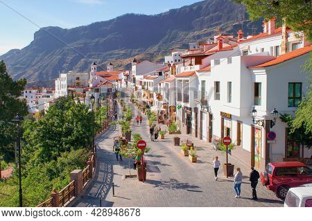 Tejeda, Gran Canaria, Canary Islands, Spain - 26.5.2021: The Main Street Of Famous Spanish Mountain