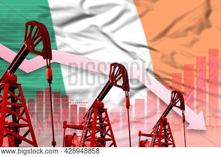 Ireland Oil Industry Concept, Industrial Illustration - Lowering Down Chart On Ireland Flag Backgrou