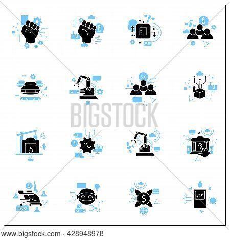 Digital Transformation Glyph Icons Set. Modern Technologies. Digitalization. Future. Digital Revolut