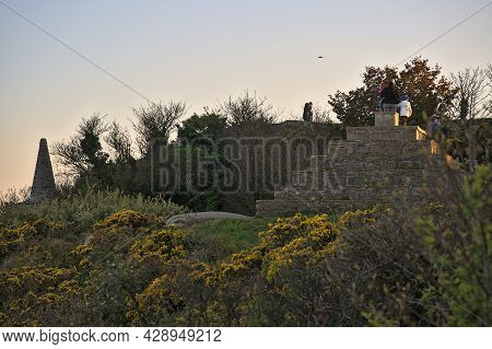 Beautiful Closeup Evening View Of Killiney Pyramid And Small Obelisk With Wild Yellow Gorse (ulex) F