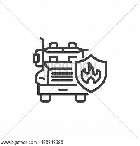 Transportation Insurance Line Icon. Linear Style Sign For Mobile Concept And Web Design. Lorry Truck