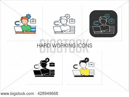 Workaholic Icons Set. Inability Detach From Work. Hard Working. Work Love Concept.collection Of Icon