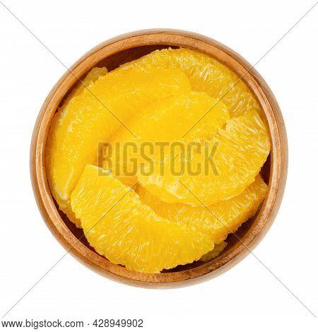 Orange Slices Supreme, In A Wooden Bowl. Fresh, Ripe Orange Segments, Cut Without Membranes, Sweet F