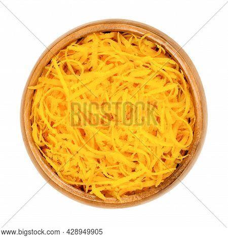 Fresh Organic Orange Zest, Orange Peel Strips, In A Wooden Bowl. Skin Of Ripe Oranges, Used For Baki