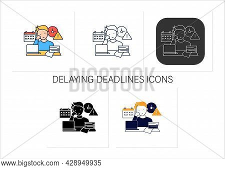 Delaying Deadlines Icons Set.schedule Gets Out.task Execution Delay.postpone Unpleasant Tasks For La
