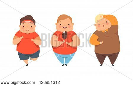 Overweight Little Children With Extra Body Fat Overeating Unhealthy Food Vector Set