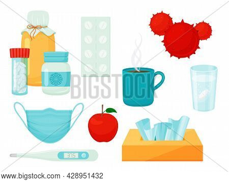 Set Of Different Objects On Medical Topics. Medications, Pills, Thermometer, Mask, Aspirin. Isolated