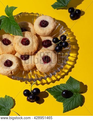 Homemade Keto Cookies Made From Almond Flour With Currant Berries. Low Calorie Dessert.