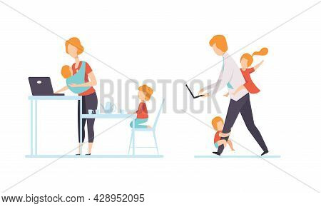 Man And Woman Parent Working From Home And Nursing Children Combining Job And Family Duty Vector Set