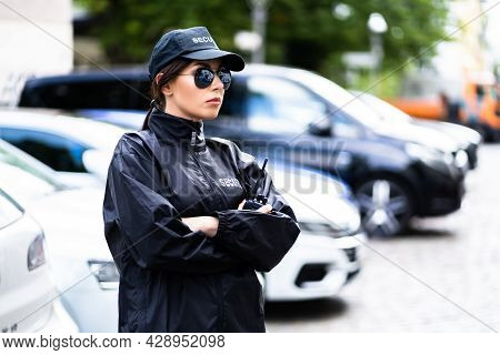 Car Parking Security Guard Officer Standing In Uniform