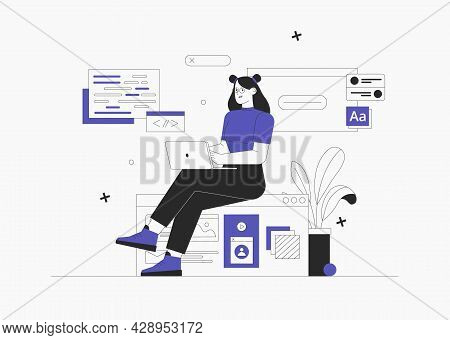 Business Woman, Smm Manager, Programmer, Sit On Infographic And Work On Laptop. Freelancer Working O