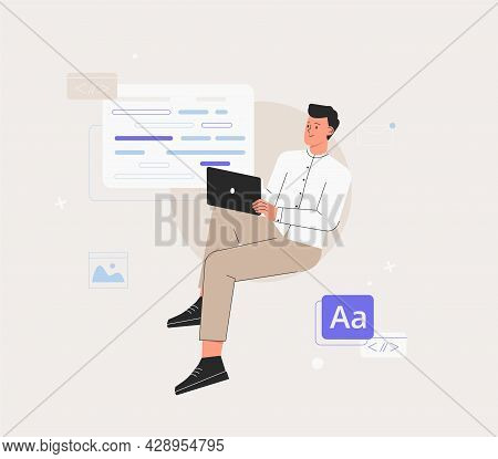 Man Is Working On Ui Ux Design Project. Programmer, Sit On Infographic And Work On Laptop. Freelance