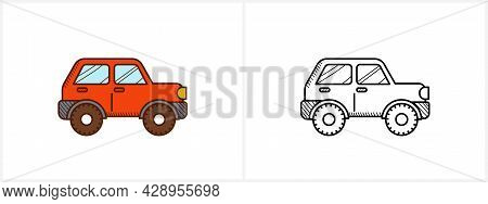 Offroad Car Coloring Page. 4wd Car Side View