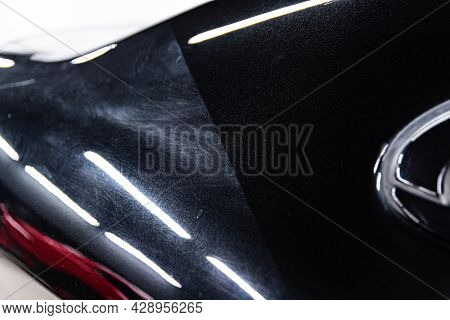 Before And After Effect After Car Varnish Renovation And Paint Correction