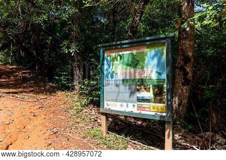 Praslin, Seychelles, 01.05.2021. Glacis Noir Nature Trail Tourist Information Board At The Start Of