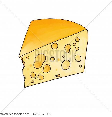 Drawing Cheese Emmental Isolated At White Background, Hand Drawn Illustration