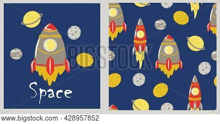 Seamless Space Pattern With Single Elements: Rocket, Planets, Jupiter, Saturn, Moon, Childrens Print
