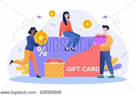 Customers Getting Gift Card Concept. Characters Are Happy And Buy Products With Discount On Gift Car