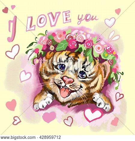 Tiger Baby Head With Hearts And Flowers On Yellow. Hand-painted Watercolor Style, Black Ink Line Art