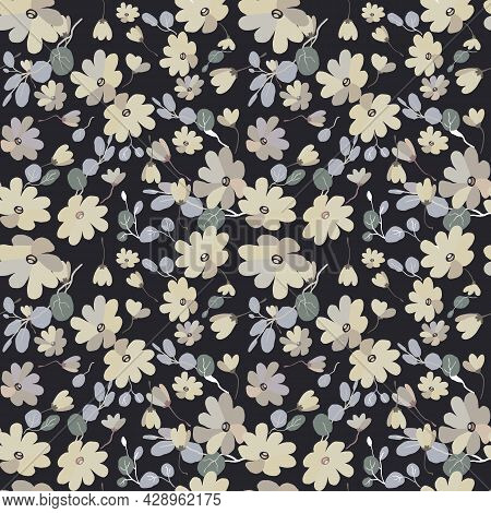 Cute Pattern In Small Flowers Witd Eucalyptus. Small Grey, Yellow Flowers. Exotic Black Background.