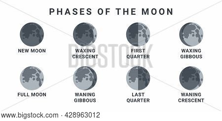 Moon Phases. The Whole Cycle From New Moon To Full Moon. Vector Illustration