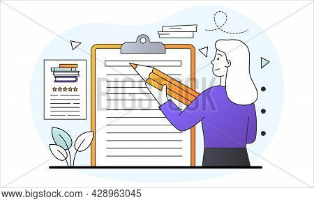Write Notes Concept. Woman Writes Important Information On Blank Sheet. Stationery Blank Sheets For
