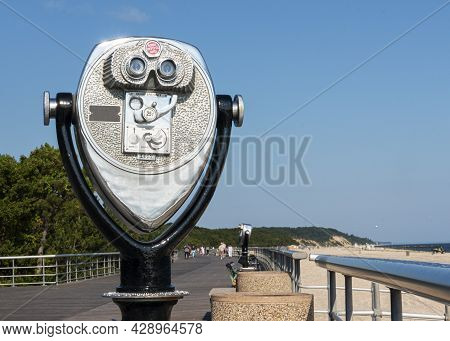 A Stationary Coin Operated Binocular Machine Facing West On Sunken Meadow State Parks Boardwalk In L