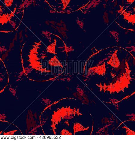 Halloween Pattern. Vector Seamless Abstract Background With Scary Pumpkins, Ghosts, Bright Neon Jack