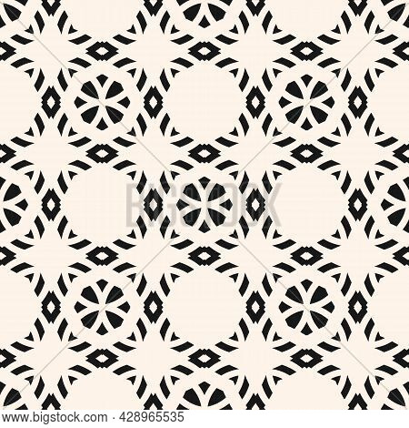 Floral Geometric Ornament. Vector Monochrome Seamless Pattern With Flower Silhouettes, Diamonds, Gri