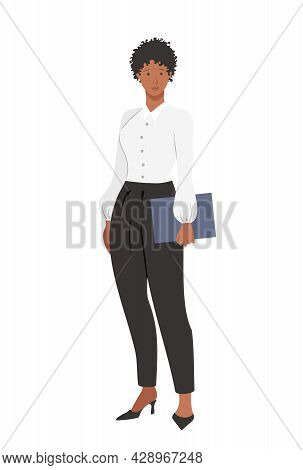 An African-american Businesswoman Girl In Office Strict Clothes With A Folder, Isolated On A White B