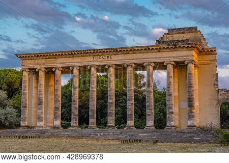 Exterior View Of Ancient Roman Theater Building. Ancient Open-air Theater Near Nimes, France. Rome A