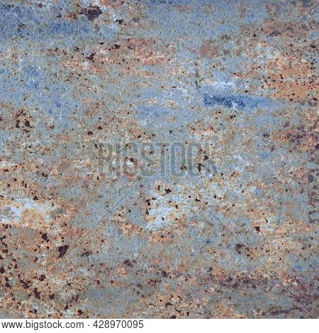 Old Light Blue Painted Grey Rusty Rustic Rust Iron Metal Background Texture, Horizontal Aged Damaged