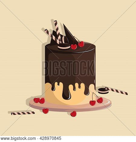 Vector Illustration Of Chocolate Cake. Red Cherries Wafer Stick And Cream Cookies Topping. Melted Ch
