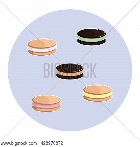 Vector Illustration Of Package Cream Sandwich Cookies. Chocolate Cream Cookies. Vanilla And Strawber