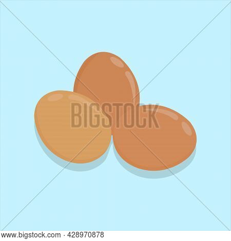 Vector Illustration Of Raw Eggs On The Blue Background. Brown Egg Shell. Chicken Eggs Farming. Groce