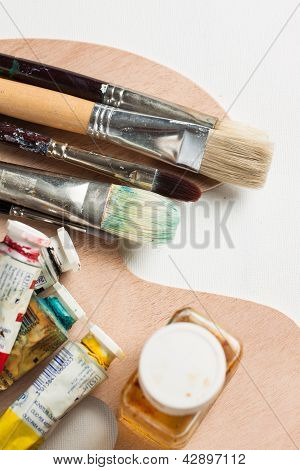 Oil Paint Accessories On Palette