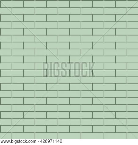 Seamless Texture In The Form Of Brickwork In Light Green Tones For Prints On Wallpaper And For Decor