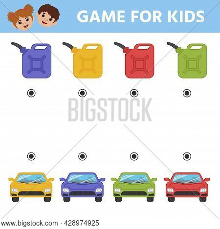 Find A Match By Color Machine And Canister. A Game For The Development Of Logic For Preschool Childr