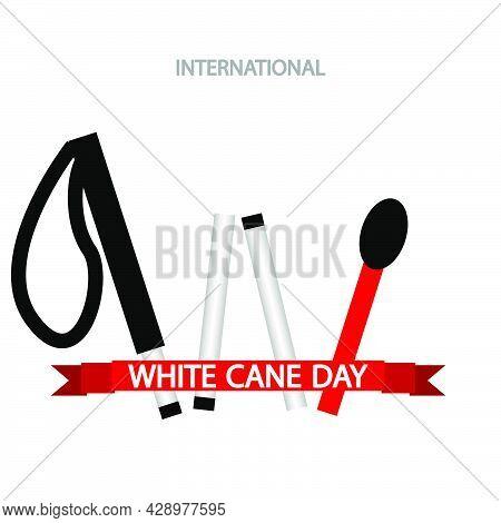 Folding Cane For White Cane Day, Vector Art Illustration.
