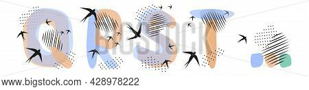 Set Of  Hand Drawn Letters Q, R, S, T. Flock Of Swallows Is Flying. Abstract Objects, Spots, Dots, S