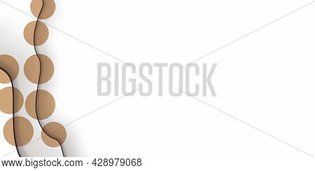 Abstract Background With Colorful Paper Cut Shapes. Design For Poster, Banner, Card. White And Brown