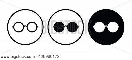 Round Glasses Icon, Eyeglasses Button, Vector, Sign, Symbol, Logo, Illustration, Editable Stroke, Fl