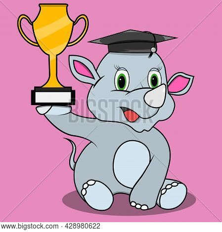 Character Rhinoceros Bring Trophy And Hat Graduate, Pink Colors Background, Mascot, Icon, Character